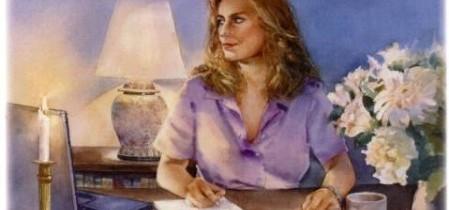 Kvinde, der skriver malet i sædvanlig Morten Korch-ugebladsstil